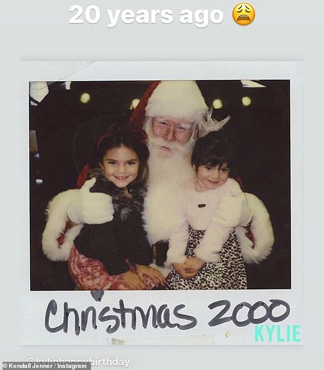 Remember when: Kendall was feeling nostalgic this month and posted an old snap of herself and her little sister Kylie 20 Christmases ago