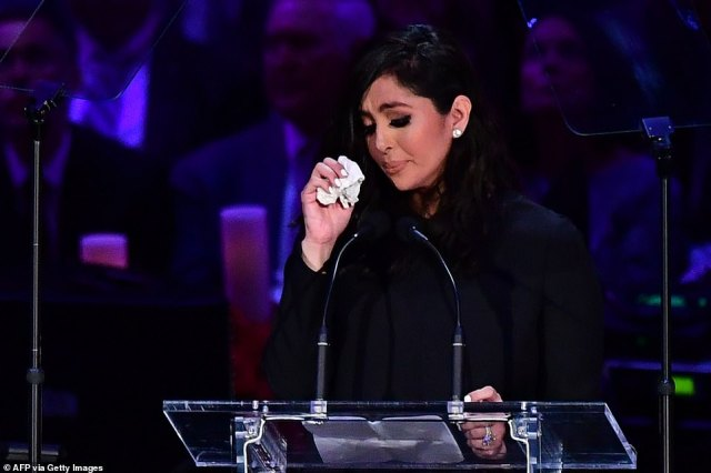 """Kobe Bryant's wife Vanessa Bryant speaks during the """"Celebration of Life for Kobe and Gianna Bryant"""" service at Staples Center in Downtown Los Angeles on February 24"""