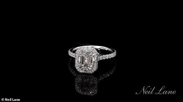 Ring time: People claimed the ring was from Neil Lane Couture, set in platinum with a 3.25-carat emerald-cut center stone that is surrounded by 27 round diamonds and further accented by 67 round diamonds