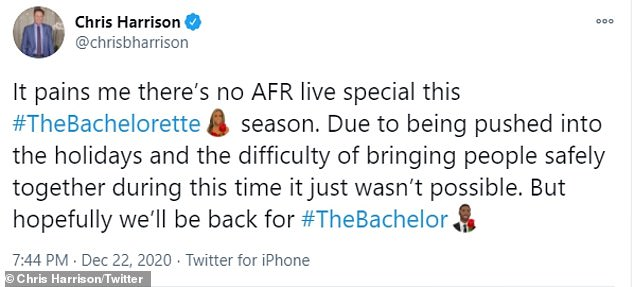 The 49-year-old Daytime Emmy nominee tweeted: 'Due to being pushed into the holidays and the difficulty of bringing people safely together during this time it just wasn't possible'
