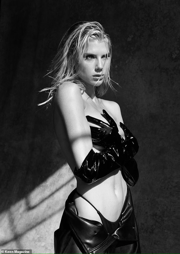 Sizzling display: Charlotte McKinney harked back to her modelling days as she posed topless in a sexy photoshoot for Keen Magazine