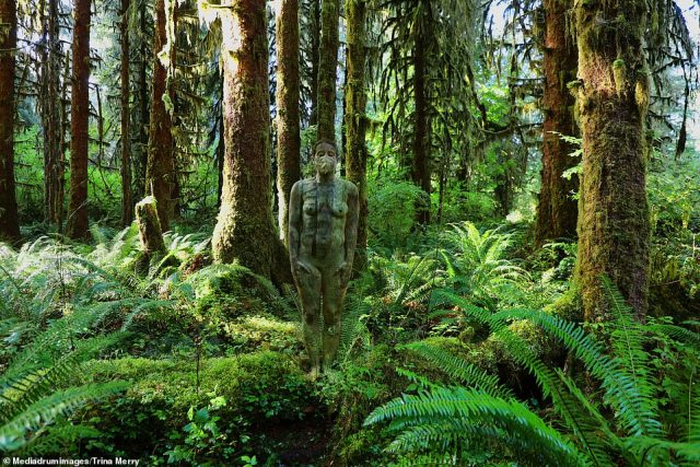 Fun times! A special moment was painting her friend, Ann Marie Ogle, at Mt. Rainier and Hoh Rainforest, the quietest place in North America (pictured)