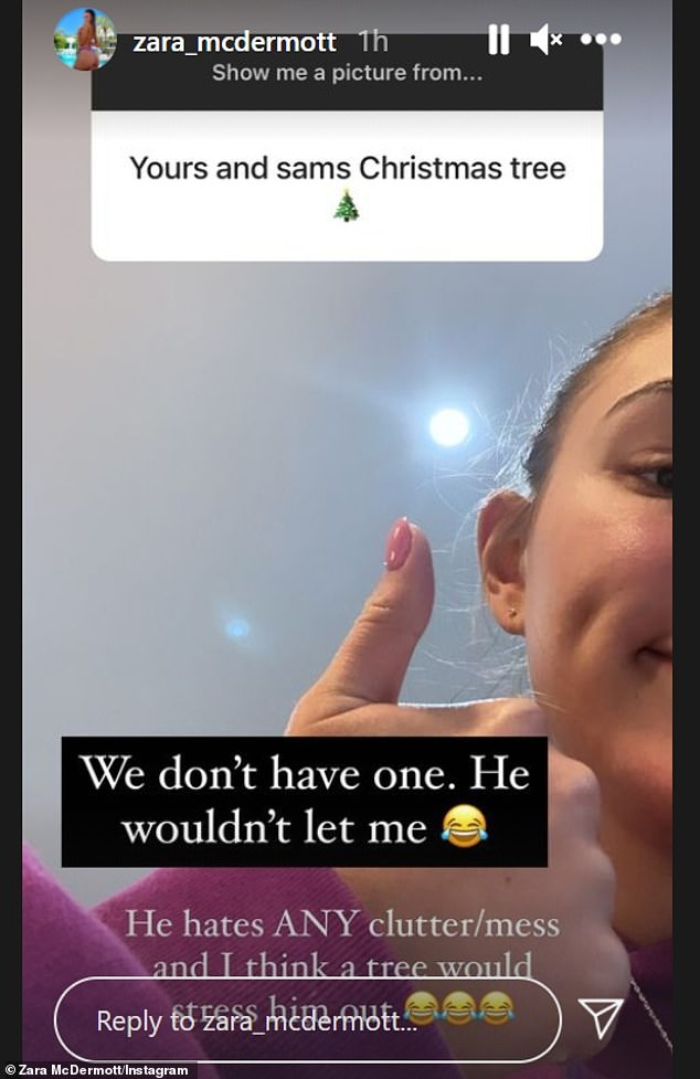 No tree: She also revealed that she doesn't have a Christmas tree because Sam 'hates clutter'