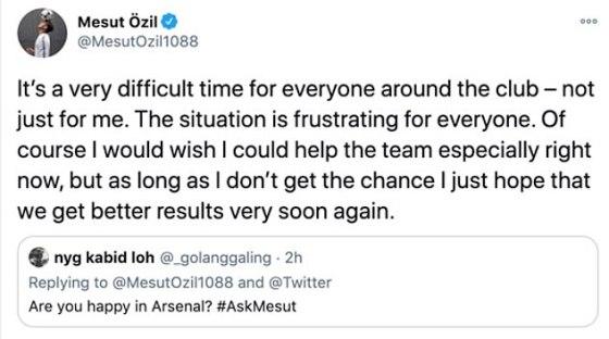 Asked if he is happy at Arsenal, Ozil simply said he currently wants to help the team