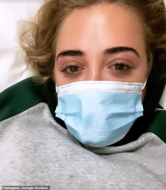 Health battle: Georgia Harrison, 22, revealed she was hospitalized and put on a drip during a trip to Dubai
