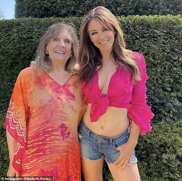 Close bond: This year, the actress spent 16 weeks holed up at her Herefordshire estate in a group of nine, including her elder sister Kate, son Damian and mum Angela, 80 (pictured)