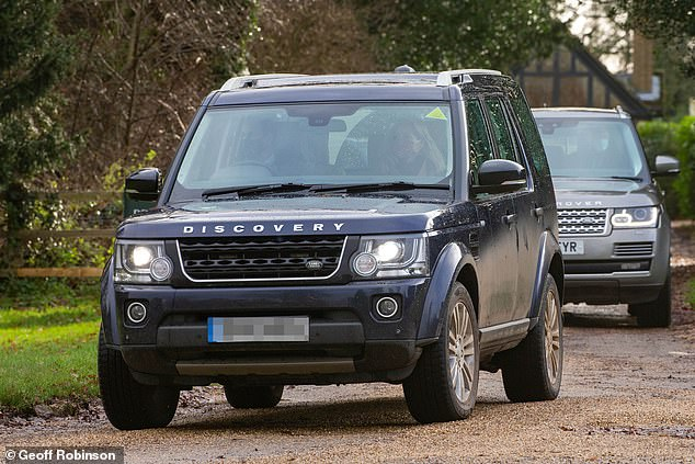 The family drove to the church at 11am in a Land Rover Discovery and attended morning service with other members of a pre-registered public congregation
