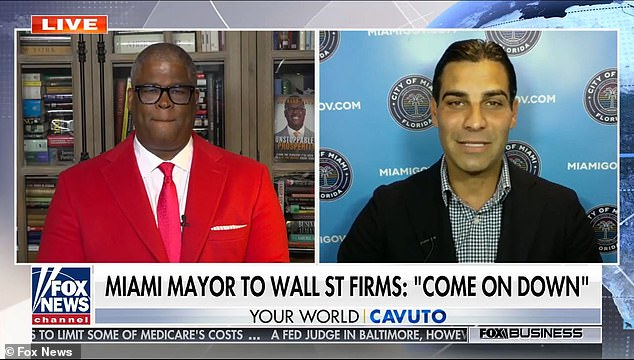 Miami's Republican mayor is urging New York City's huge financial firms to leave Wall Street and relocate to Florida. Mayor Francis X. Suarez is seen left on Fox News' Your World last night