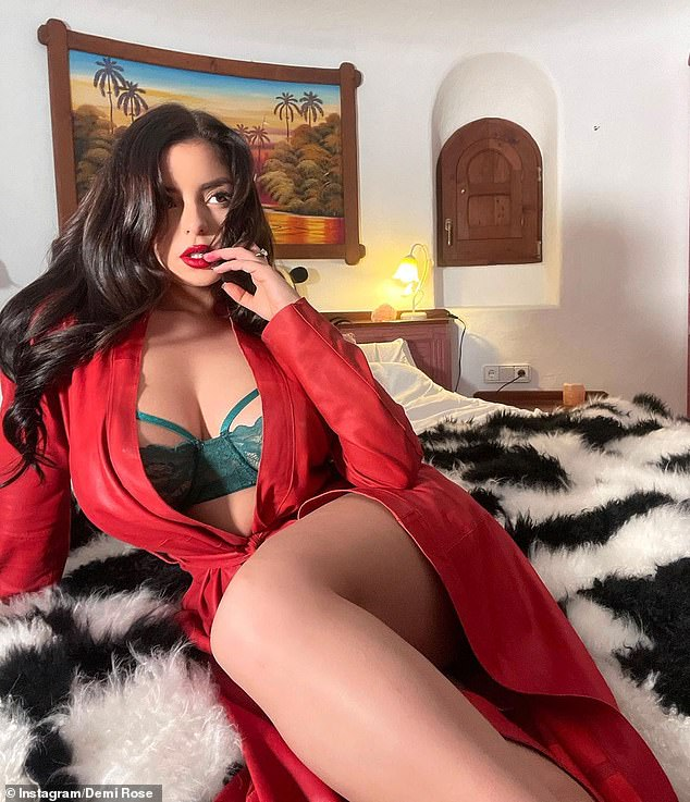 Merry Christmas:Demi Rose has shared a flood of eye-popping lingerie-clad snaps on her Instagram as she spends Christmas in Ibiza, Spain
