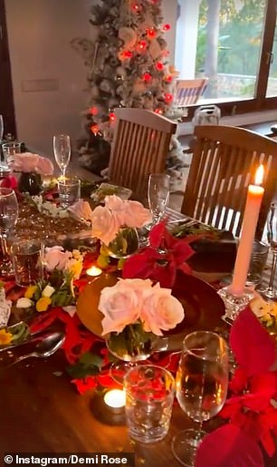 Decorations:One short video saw her showing off her festive decorations, including her white Christmas tree adorned red lights and her stunning table set for Christmas dinner