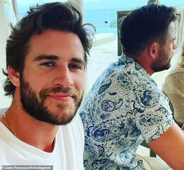 Brother Time: On Friday, Liam, 30, (left) shared a selfie with his Avengers star siblings sitting at a family dinner with him