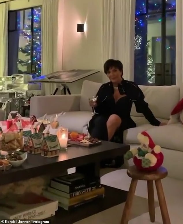 Host with the most: Kendall shared this shot of momager Kris Jenner enjoying a holiday cocktail on Christmas Eve, after the family cancelled their annual bash
