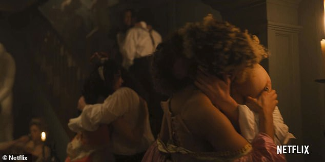 Shonda Rhimes' Netflix debut has set pulses racing with a mixture of sultry moments, scandal and shock. And while some loved the series - set in Regency London - others were left with awkward viewing after tuning in to watch with their parents thinking they were expecting a family friendly festive show.Sex scene from the show is pictured
