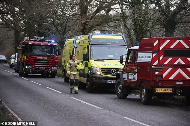 The blaze near the Sussex village of West Chiltington is believed to have started on Christmas Day
