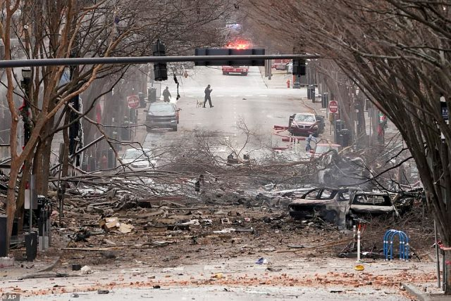The blast injured three people and caused severe damage to the city's downtown area