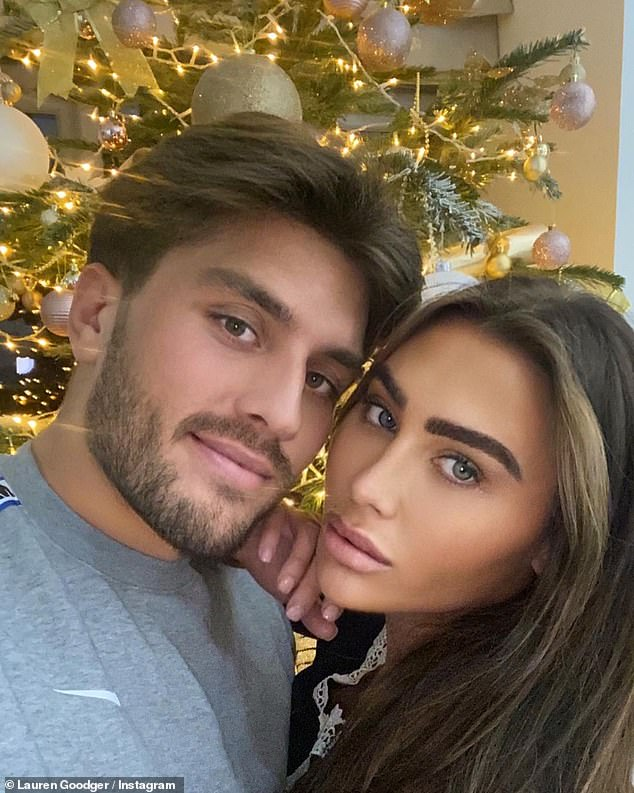 Romance: Lauren Goodger looked more loved-up than ever as she shared a series of romantic snaps alongside her other half on Saturday