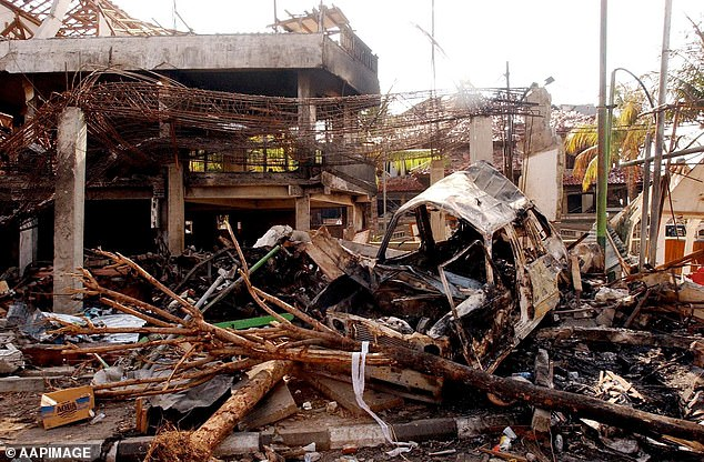 Zulkarnaen had eluded police capture since the 2002 terror attack (aftermath pictured)