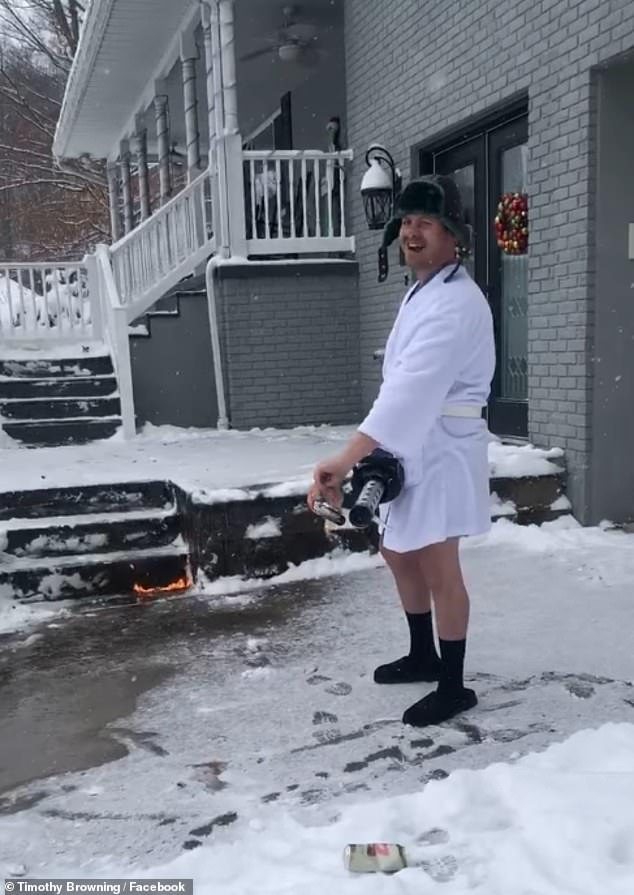 Dressed only in a hat and bathrobe , Tim Browning casually walked down his drive