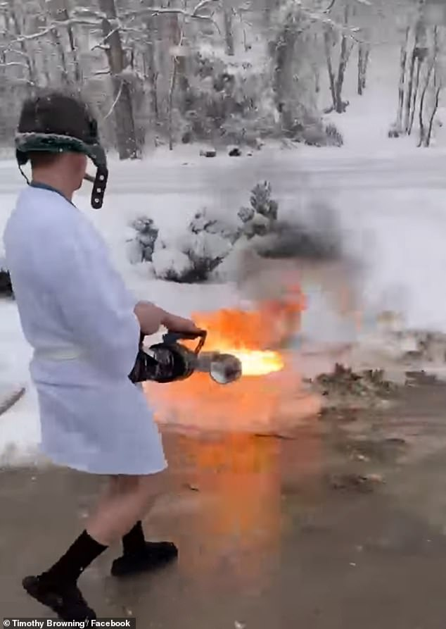 The liquid-operated flamethrower uses a tank with a pressurized gas to expel the flammable liquid fuel
