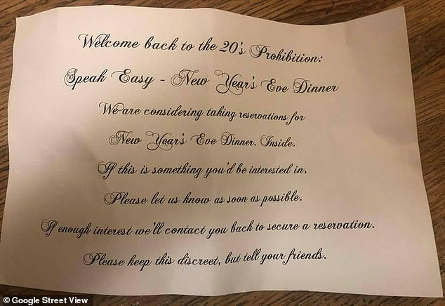 Customers who recently bought takeout food from La Scala in Beverly Hills received an invite to a '1920s Prohibition speakeasy'-style New Year's Eve in-person, indoors dinner bash in a brazen attempt to flout COVID-19 lockdown rules