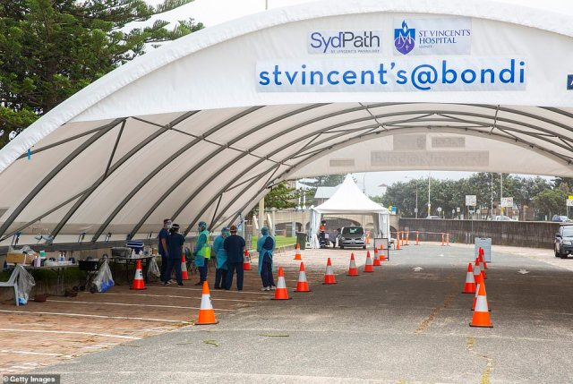 Gladys Berejiklian announced 24,000 people had been tested in the past 24 hours as the Northern Beaches cluster grew (pictured, workers at a COVID-19 testing clinic on Christmas Day)