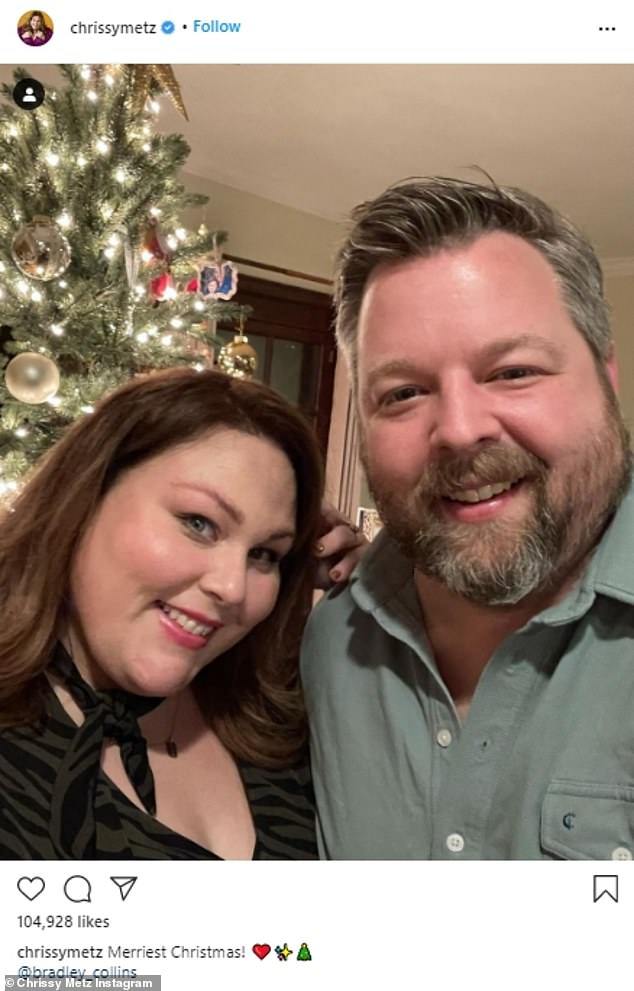 Christmas romance: Chrissy Metzgave a glimpse at her first Christmas with boyfriend Bradley Collins, as she took to Instagram Friday with a cute selfie in front of their beautifully decorated tree