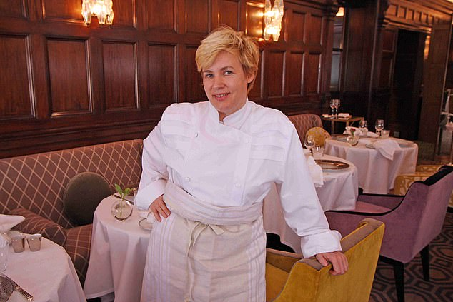The gastronomic meal prepared by Michelin-starred chef Hélène Darroze (pictured) and will include foie gras, hand-harvested scallops from Scotland served in their shells and vol-au-vent with lobster
