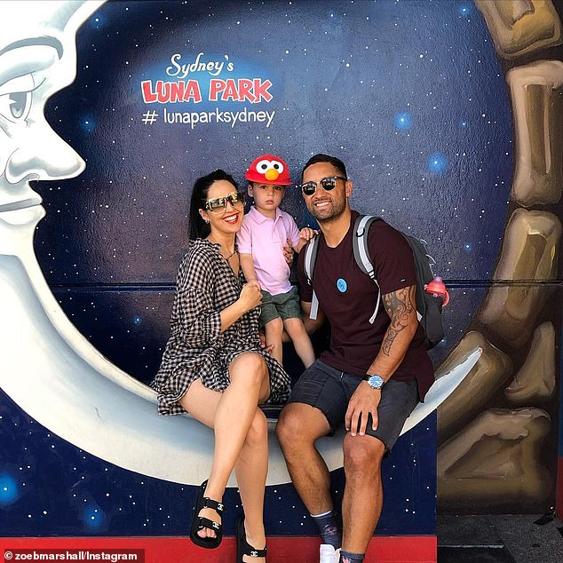 Creating memories: Zoe shared a number of sweet photos from the day to her Instagram page, and said it was their first trip to Sydney's Luna Park as a family