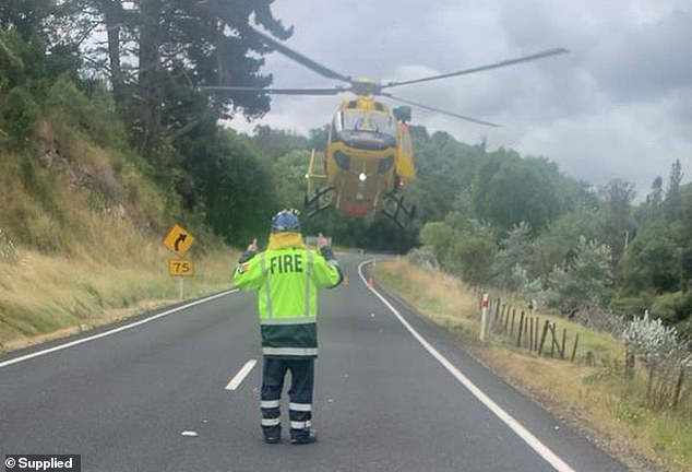 Once Mr Shaw was secured emergency services had to close down State Highway 2 between Cemetery Road and Rakauroa Road to allow the helicopter to land in the middle of the road