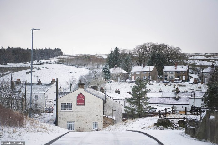 Snow storm: Storm Bella battered parts of the North West and Cumbria (pictured) this morning with strong winds and heavy snow showers. This comes as weather forecasters warn of weeks of wintery conditions which are set to hit parts of the UK