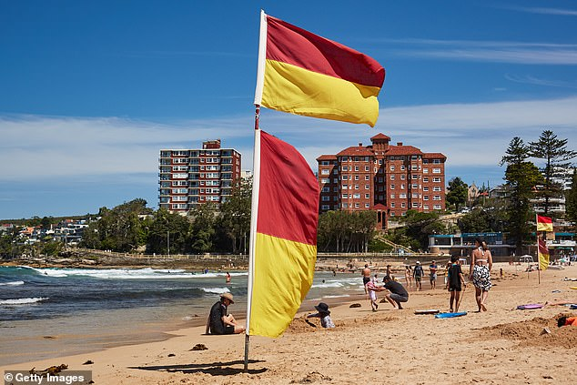 Beach flags raised at Manly as the Northern Beaches rules changed again on Sunday. Beaches are now open to residents for swimming and exercise along with rock pools and playgrounds