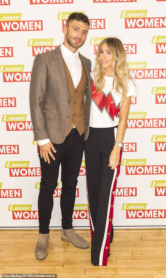 Happier times:Danielle and Jake split in April 2018 following a seven month engagement and three year romance (pictured August 2017)