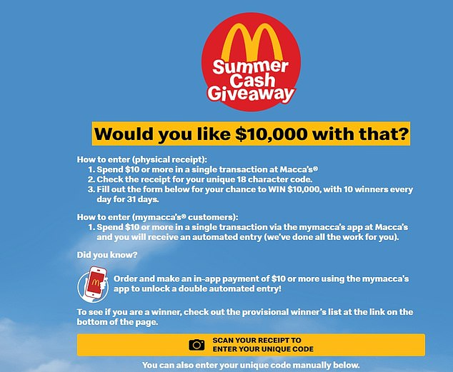 The receipt is from McDonald's Summer Cash Giveaway promotion (pictured)