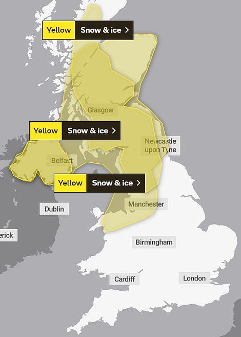 The Met Office yellow warning for snow and ice in Scotland and northern parts of England and wales on Saturday