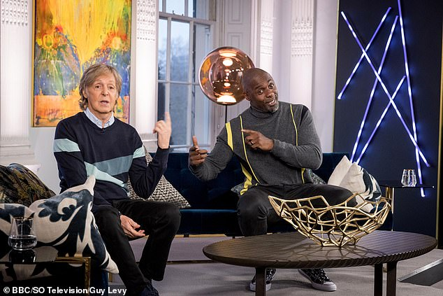 Chit chat: The interview is a special one-off show, with The Beatles star talking to Golden Globe-winning Idris, 48, about what inspires him to continue to innovate creatively