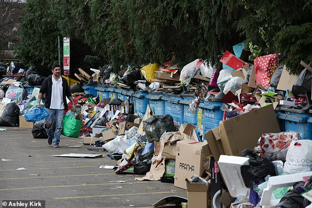 Despite signs saying warning rubbish left on the floor was flytipping people were seen adding to the piles of rubbish
