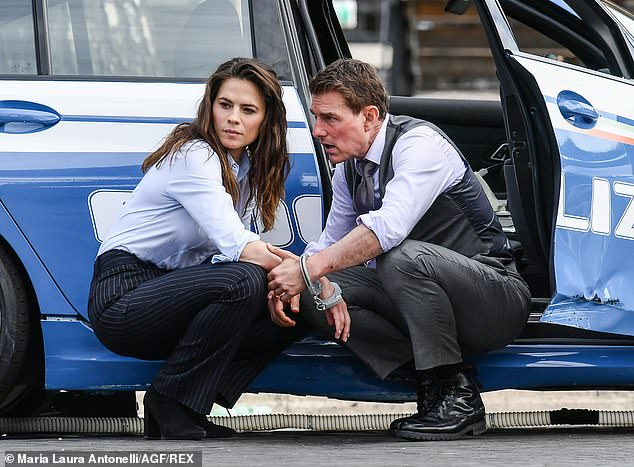 Precaution: The actor is said to be spending millions to adapt a former military base for filming to ensure the rest of the production goes off without a hitch (pictured with Hayley Atwell)
