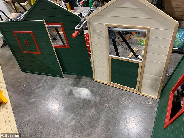 Emma and her fiance painted all of the various parts different colours, including the classic Bunnings Warehouse green and red (the process pictured)