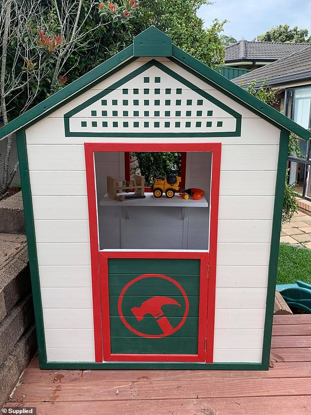 Emma Murray, from Newcastle in New South Wales, said she spent around $300 transforming the Bunnings buy into the warehouse of her son Harry's dreams (finished results pictured)