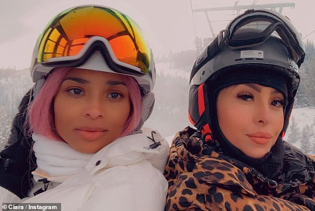 Serving face: Ciara also served face with Vanessa, 38, from the ski lift, posting some selfies to Instagram, captioned: 'The Slopes Ain't Ready'