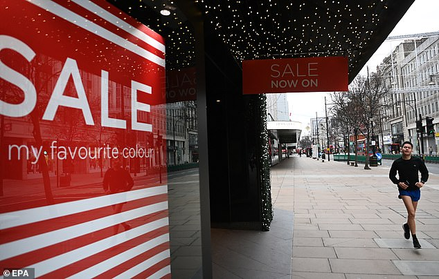 The Resolution Foundation says the economy could be six per cent smaller by Easter than first forecast by the UK's budget watchdog just last month. Pictured: A near-empty Oxford Street on Boxing Day
