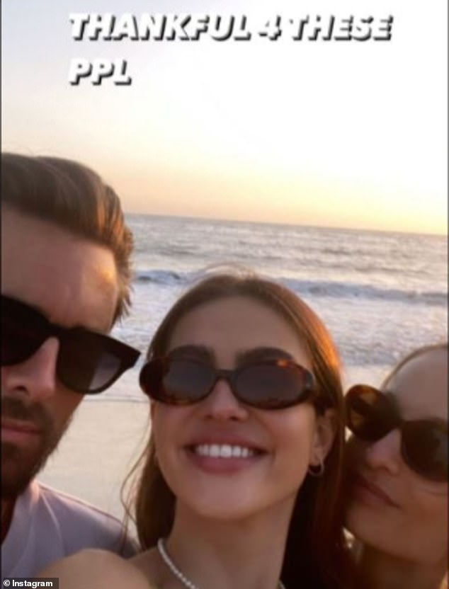 Older boyfriend: The teenager posted a beach selfie in late November with new older beau Scott Disick, 37, and a friend and captioned it: 'Thankful 4 these ppl'