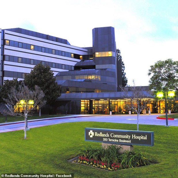 The unnamed woman claimed on Facebook that she was given a coronavirus vaccine because her husband's aunt is a 'big deal' at Redlands Community Hospital in Redlands, California (seen in file photo above)