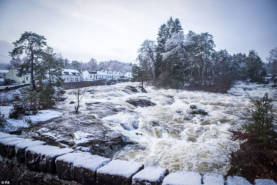 Snow surrounds the Falls of Dochart at Killin in Stirlingshire as cold weather hits Britain this week, with some temperatures hitting -6C