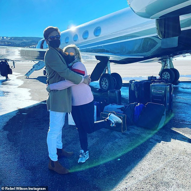 Funnywoman in the snow: Wilson returned to the Los Angeles area recently after a fun-looking and romantic getaway to Aspen, Colorado with her boyfriend Jacob Busch