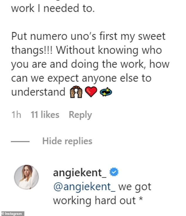 Angie replied in the comments: 'I love this!!! YES! It's been horrendous off and on, but also a lot of lessons and beauty!'