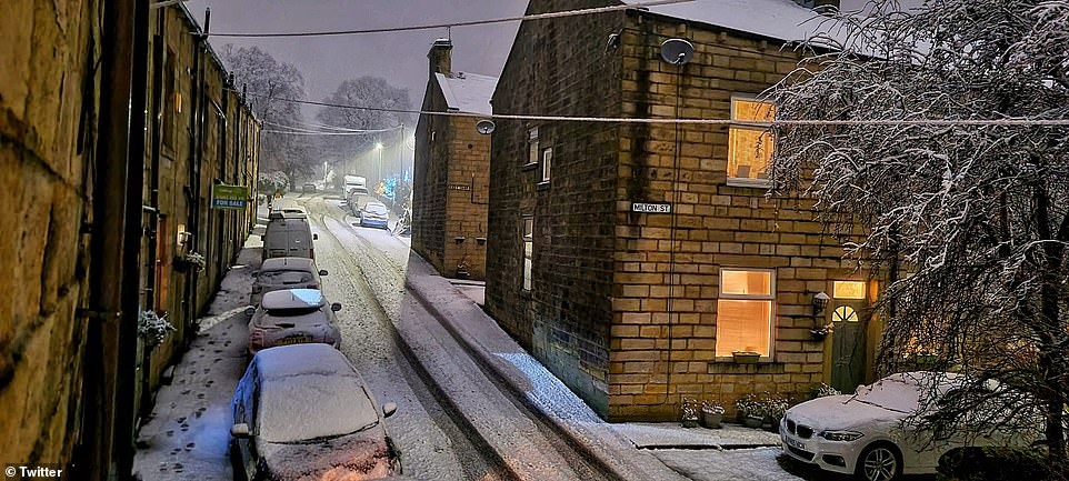 Areas of the north, including Wigan and Barrowford (pictured here this morning) were today blanketed in snow
