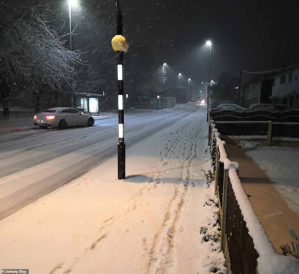 One yellow warning, covering the north-west of England, Scotland and Northern Ireland, forecasts snow and ice today