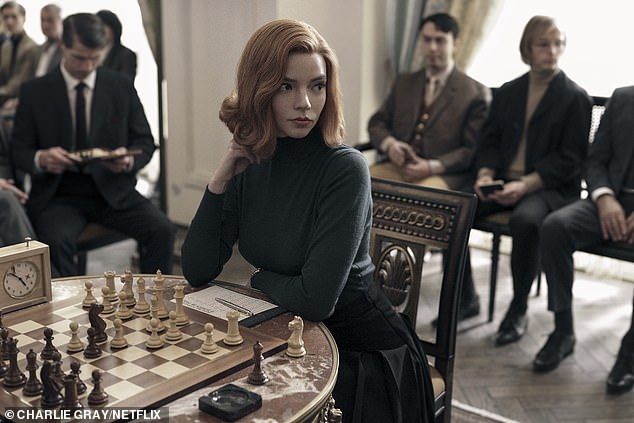 Netflix, Amazon and Disney+, will have a combined 32.4 million by the end of this year, according to media analyst Ampere with eight million new subscribers signing up this year to tune into shows including The Queen's Gambit and The Crown. Anya-Taylor Joy is pictured in The Queen's Gambit