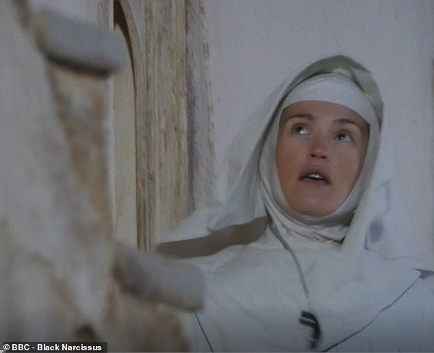 Look up, not down! Many viewers quipped that 'no risk assessment had been carried out' on the stone stairs as Sister Clodagh gasps at the sight of the sheer drop beneath her